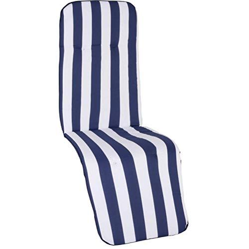 Beo Gartenstuhlauflage Gartenstuhlkissen Sitzkissen Polster für Relaxstuhl Streifen blau Weiss