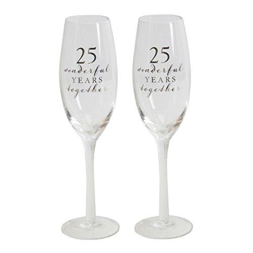 Juego de 2Happy 25th aniversario de boda copas de champán de crista