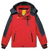 Wantdo Garçon Anorak de Ski à Capuche Ski avec Doublure Manteau Imperméable Veste de Pluie Parka d'hiver pour Enfant Rouge 8