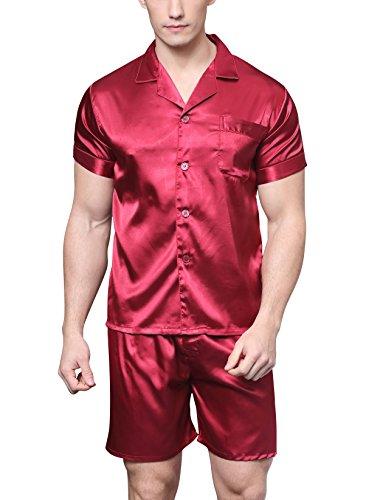 Herren Kurz Satin Schlafanzug Kurzarm Pyjama Set mit Shorts (Burgund, L)