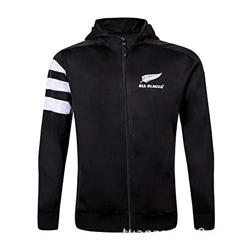 AFDLT Hombre Invierno Rugby Jersey,2019 All Black Rugby Jacket,Casual Redondo Sudaderas,Respirable Camiseta de fútbol Sudaderas Capucha para