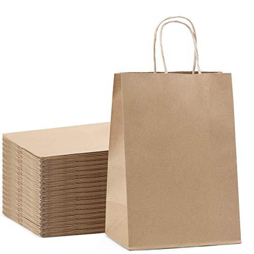 20 Stück Braune Papiertüten, Papiertaschen Kraftpapier Kraftpapiertüte Candy Tüten Papiertragetaschen Geschenktüten mit Henkel fur Geburtstag, Babyparty, Hochzeit, Weihnachten, inkaufen