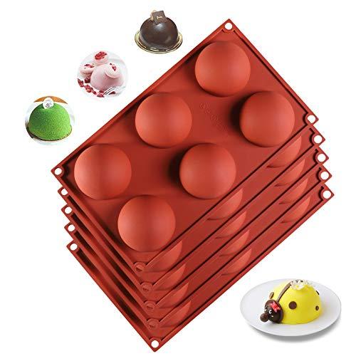 Halbkugel-Silikonformen 7cm Halbkreis Backform Halbkugel-Form 6 Löcher Silikon Backform Set für Kuchen Gelee Bonbon Schokoladen Süßigkeiten (5er Set, Ziegelrot)