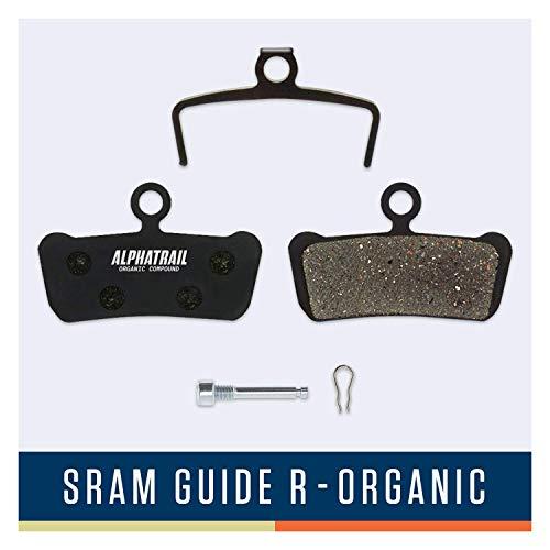 Alphatrail Bremsbeläge - SRAM Guide & Avid Trail I Organischer MTB Bremsbelag mit hoher Bremskraft & Laufleistung I 100% Passgenau für Avid Elixir Trail 7 9 XO & SRAM Guide R RS RSC Ultimate