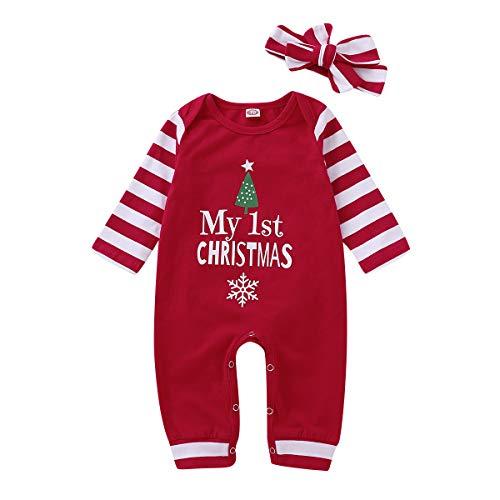T TALENTBABY Neugeborener Brief gedruckt Mein erster Weihnachtsanzug Baby Jungen Mädchen Overall Bodysuit mit Weihnachtsbaum und Schneeflocke + Stirnband Kleidung Set, Dunkelrot, 12-18 Monate