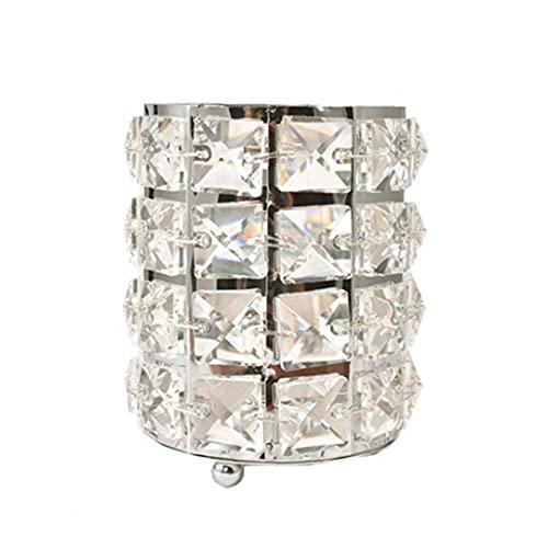 RRunzfon Cosméticos Cepillo del Maquillaje del almacenaje del envase del Cubo para Las Muchachas de Las señoras de Cristal de Plata, Almacenamiento Cubo