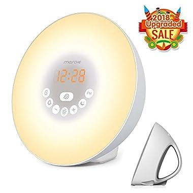 Sunrise Alarm Clock, Wake up Light 6 Nature Sounds, FM Radio, Color Light, Bedside Sunrise Simulator (White)