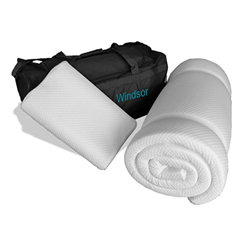 Prima Comfort Travel Memory Foam Mattress Topper plus Pillow-The Windsor-7 DAY MONEY BACK GUARANTEE!!! includes Memory Foam Travel Pillow & holdall bag! (Mattress 190cm x 70cm x 3.5cm) Coolmax cover by Prima