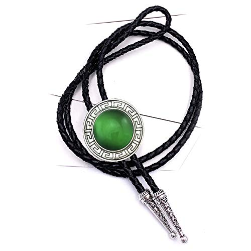 Lanxy Leather Native American Western Celtic Round Transparent Green Stone Bolo Tie Silver Tone(Genunie Leather Rope)