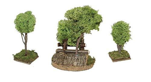 CV 3 TLG. Baum-Gruppe mit Zaun 11, 16 und 20 cm für Weihnachtskrippe Krippenstall Krippenzubehör