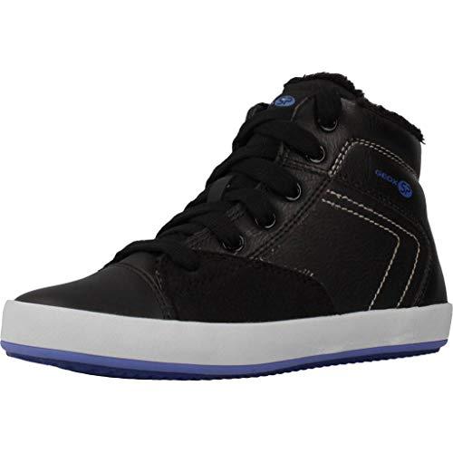 Geox Jungen High-Top Sneaker GISLI Boy, Kinder Sneaker,Sportschuh,Sneaker-Stiefelette,mid-Cut,atmungsaktiv,Black/ROYAL,32 EU / 13 UK Child