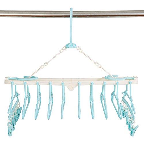 ATROPOSS 赤ちゃん10連ハンガー ベビーハンガー 取り外し10連ハンガー ピンチ12個付 ハンガーラック 洗濯ハンガー 折り畳み(ピンク&ブルー) (ブルー)
