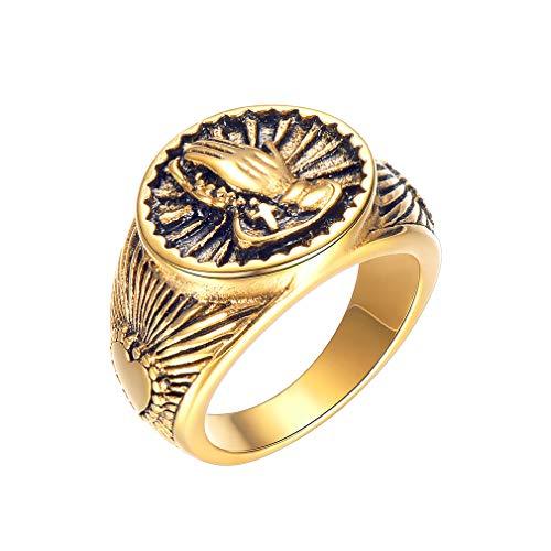 FaithHeart Schmuck Edelstahl Herren-Ring 18K Gold Retro Liebe Herren Ring für Engagement Versprechen Ewigkeit Größe 54 bis 67