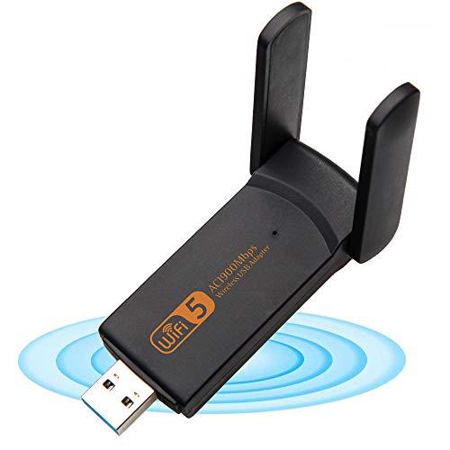 XVZ Adaptador WiFi USB, 1900 mbps de banda dual 2.4G/5G adaptador inalámbrico, mini tarjeta de red inalámbrica WiFi dongle para computadora portátil/escritorio/PC, soporte Windows10/8/8.1/7