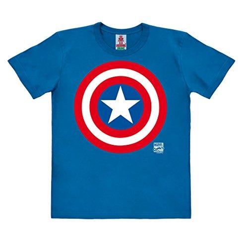 Logoshirt Marvel Comics - Superhéroe - Capitán América Logo Camiseta 100% algodón ecológico para niño - Azul - Diseño Original con Licencia, Taglia 128, 7-8 años