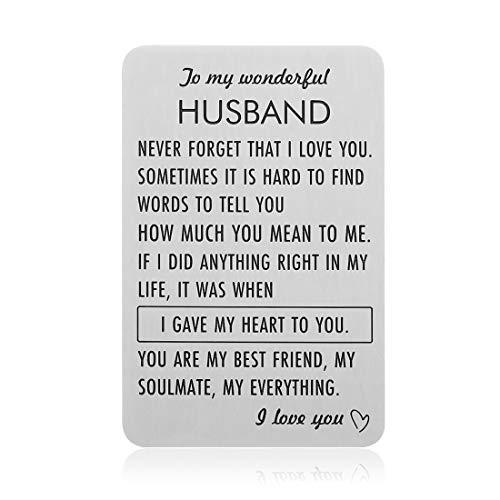 Engraved Wallet Insert Card Anniversary Keepsake Gifts for Husband Boyfriend Groom Fiance Birthday Wedding Valentines Gift from Wife Girlfriend