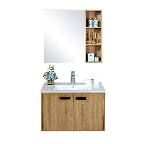 JenLn Gabinete de baño de Madera de múltiples Capas de múltiples Capas de Laca con gabinete de Lavabo Combinado de Lavabo Combinado de baño de baño Fregadero de cerámica con gabinete de Medicina.