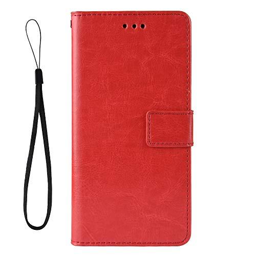 Dedux Flip Hülle kompatibel mit Alcatel 3X (2019), Retro Leder Brieftasche Abdeckung Magnetverschluss Folio Ständer Kartensteckplätze Handyhülle, Rot mit Lanyard