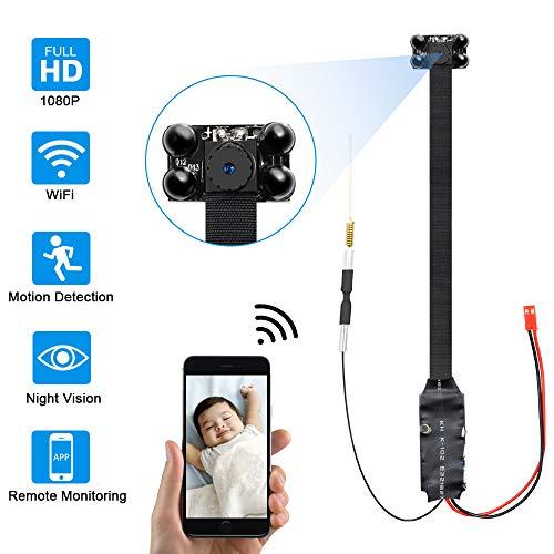 Camara Espia WiFi,UYIKOO 1080P Mini WiFi Camara Espia de Seguridad Inalámbrica portátil,Camaras de Seguridad Pequeña Detección de Movimiento con Visión Nocturna para iPhone/Android
