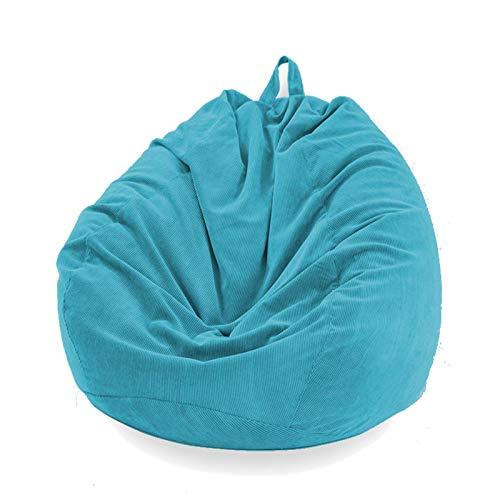 Funda Puff Pera SIN Relleno Cubierta de Sillón Sofá Perezoso Silla de Puf Tumbona Funda de Pana para Puf Bolsa de Frijol Bean Bag para Adultos y Niños Accesorio de Hogar para Muebles (Azul Claro, L)