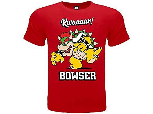 Fashion UK Camiseta oficial del personaje Bowser 100 % algodón. Color rojo....