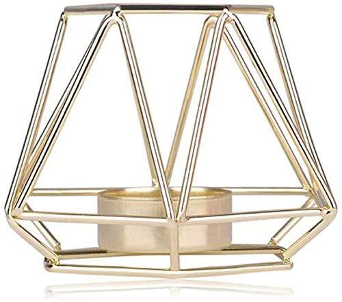 FASTER Geometrische Kerzenhalter, Geometrisch Teelichthalter aus Metall moderner Kerzenständer aus Eisen, Stabiler Kerzenständer Nordischen Stil Schmiedeeisen Dekoration Metall Handwerk (Gold S)