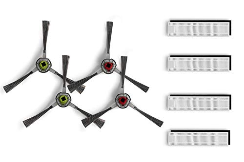 12-teiliges Hepa-Seitenbürsten-Set für Ecovacs Deebot Slim / Slim2 – 8 Hepa-Filter + 4 Seitenbürsten-Zubehör