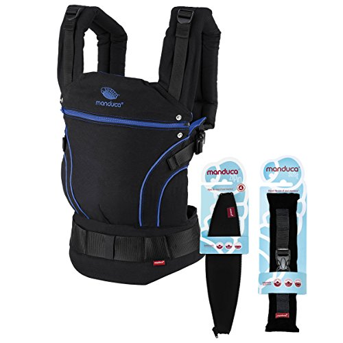 manduca First Babytrage > Black Line AbsoluteBlue < Babytragen- Neugeborenen Paket incl. SizeIt (Stegverkleinerer) & Zip-In Ellipse, Bio-Baumwolle, für Babys von 3,5 -bis 20 kg (schwarz-blau)