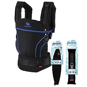 manduca First Portabebe > BlackLine AbsoluteBlue < Mochila Portabebe más Accesorios Size-It & Zip-In Ellipse, Algodón Orgánico, para Bebés de 3,5 a 20 kg (Set Recién Nacidos/negro-azul)