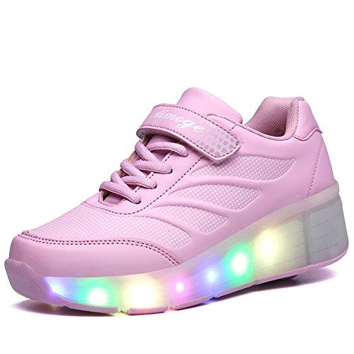Good-time Sportschuhe Kinder Skateboard Schuhe Blinkschuhe Kinderschuhe mit Rollen LED Skate Rollen Schuhe Trainer Sneakers für Junge Mädchen