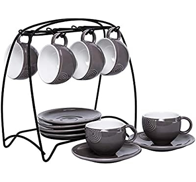 Hompiks Espresso Cups with Saucers and Metal Stand Porcelain Cup and Saucer Set, 4 oz for Coffee Cappuccino Latte and Tea Set of 6 Grey