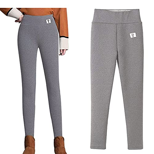 DSXH Super Thick High Waisted Slim Cashmere Leggings Winter Warm Full Length Pants (Thick Light Gray,L)