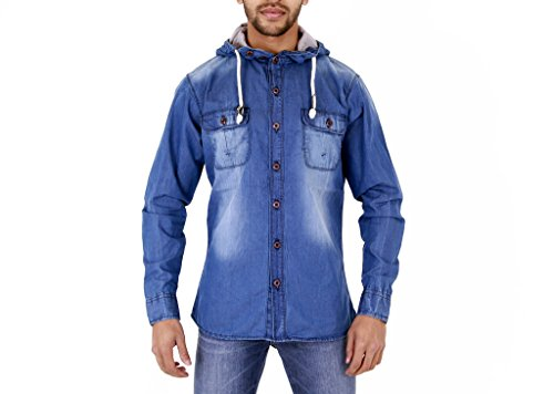 Zico Chemise en Jean délavé à Capuche pour Homme - Bleu - Bleu - Moyen