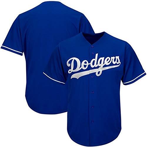 GBY Männer und Frauen Baseball-Trikots, geeignet für Dodgers Baseball-Jersey, Fans gesticktes Trikot, Jugendtraining Kleidung Blue-XL