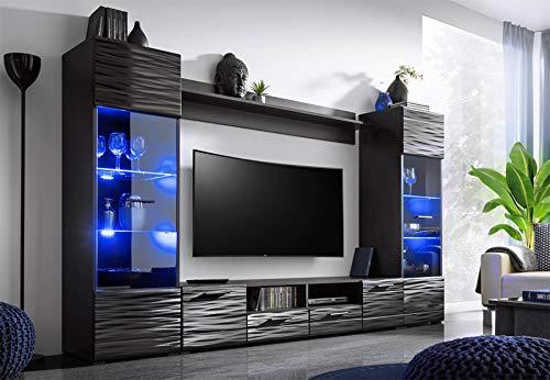 BIM Furniture MODIC - Parete per Salotto, 260 cm, con Vetro a LED, Colore: Nero Lucido