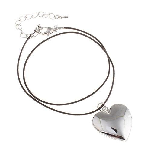 Styleziel dames sieradenset ketting medaillon foto medaillon hart hanger om te openen koord goud zilver pl 37cm 2080