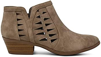Oslo Womens Perforated Cut Out Side Medium Low Stacked Block Heel Ankle Booties Boots -  Light Taupe  - 7