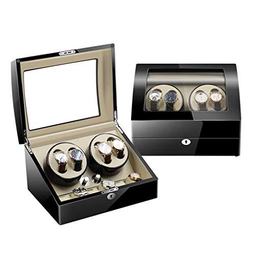 Caja enrolladora automática para Relojes, Caja de Almacenamiento para exhibición de Relojes, para 4 + 6 Relojes de Pulsera, Relojes de Madera a Prueba de Agua, Caja Enrollable, rotación ultr