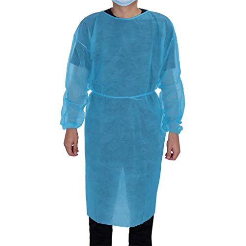 20 Pack Universal Isolation Gown with Elastic Wrists, Adults Disposable Gown Coverall, Indoor Outdoor Safety Personal Coveralls, Hospital Ward Siamese Isolation Protective Clothing Breathable Suit
