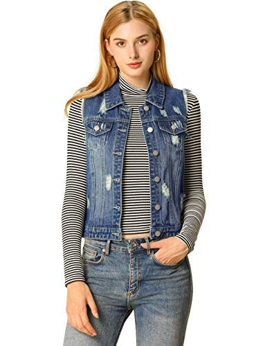 Allegra K Damen Ärmellos Umlegekragen Button Jeansweste Weste Blau XS
