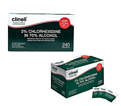 Clinell CA2C240 Wipes, 70% Alcoholic, 2% Chlorhexidine (2 Pack of 240) - 480 Sachets by Gama