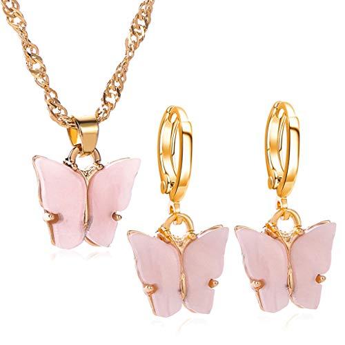 jiheousty Chic Acryl Schmetterling Anhänger Tropfen Ohrringe Tiny Dainty Mini Schmetterling Anhänger Halskette Schmuck Set für Frauen Mädchen
