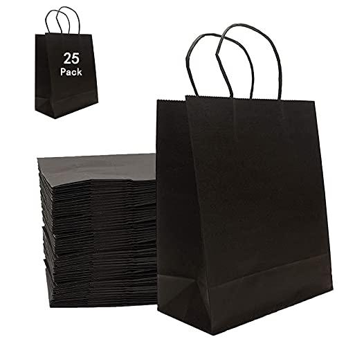 Papiertasche, Geschenktüte, 25 Geschenktüte Papier, Papiertüten A4 mit Henkel, Geschenktüte Groß, Papiertüten Geschenktüten, für Weihnachten, Geburtstag, Hochzeit.(Schwarz Papiertüten)