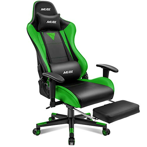 Muzii Gaming Chair with Footrest, High-Back PU Leather Office Chair with Headrest and Adjustable Lumbar Support,Ergonomic Computer Swivel Chair for Teens and Adults-Green(001)