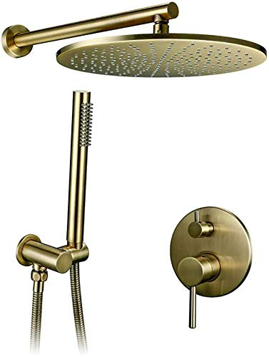 Sistema de ducha Juego de ducha montado en pared de latón de oro con cepillado con 8-12 pulgadas de latón con ducha de ducha de llover ducha de ducha de 12 pulgadas con set de ducha de lujo de 12 pulg