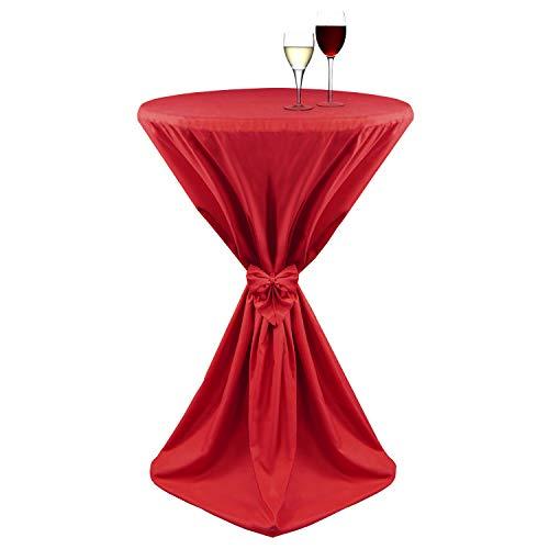 Beautissu Stehtisch-Husse Giulia Microfaser Stehtisch-Überzug in Rot Ø 80x145cm mit elegantem Satinband - Viele Größen & Farben
