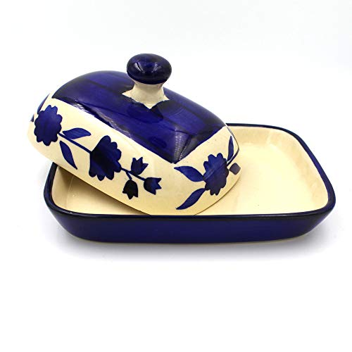 POTZO Butter Box, Dish with Lid, Refrigerator Safe, Hand Painted Mughal Blue 250 ML