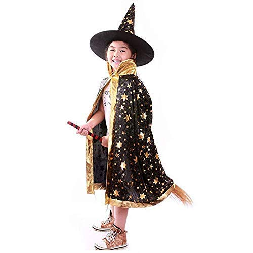 Anzmtos Disfraces De Halloween Bruja Mago Capa con Capa Y