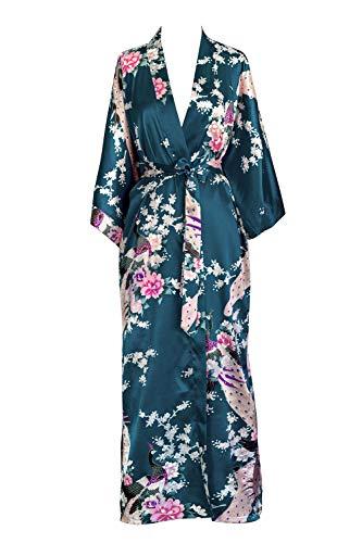 OLDSHANGHAI Women's Kimono Robe Long - Peacock & Blossoms - Sapphire (Blue)