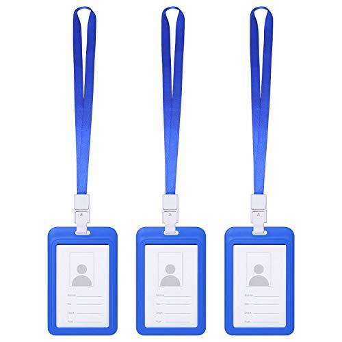 Vicloon Funda para Tarjeta con Llavero Retráctiles de Alta, Soporte de Tarjeta ID en 2 Estilos y Clip de Cinturon con Cordón de Nylon Extensible para Oficina Autobús (Azul, 3 Pcs)
